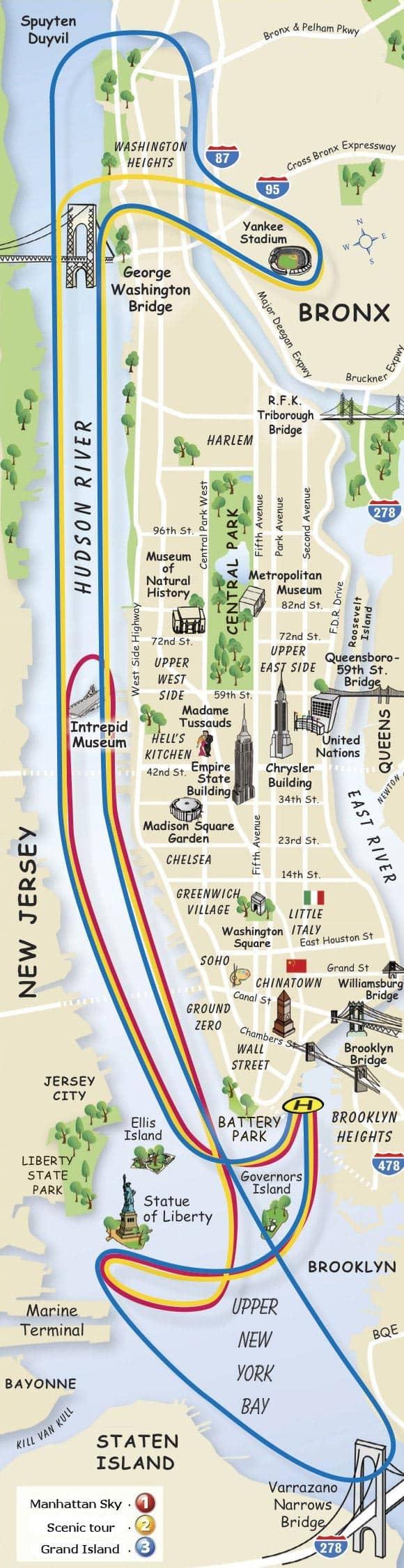 뉴욕 헬리콥터 투어 지도