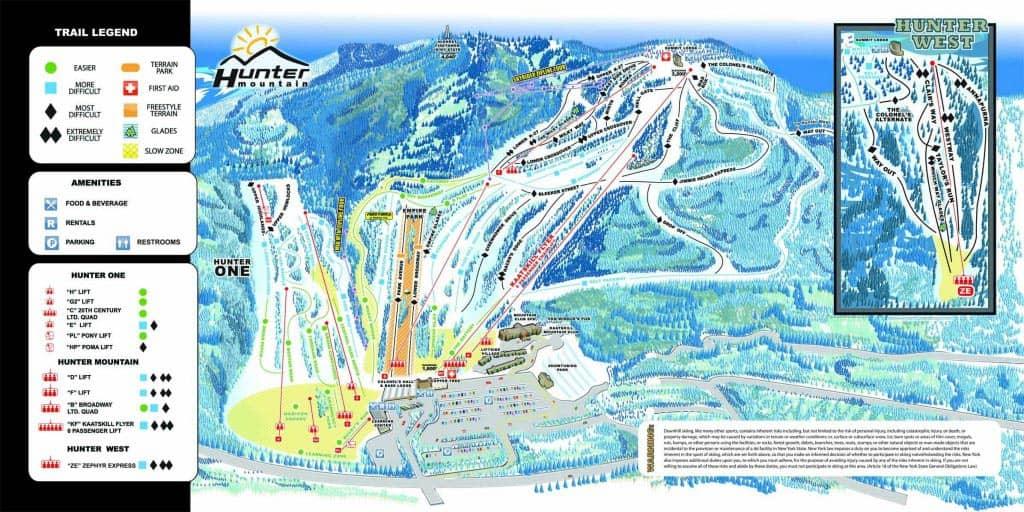뉴욕 스키 스노보드 당일 여행 - 트레일맵