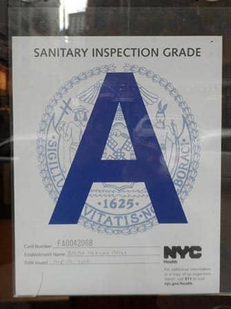 뉴욕의 레스토랑 위생 - A등급 레스토랑