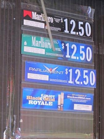 뉴욕에서의 흡연 - 가격